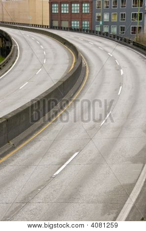 Empty Highway Curving To Left