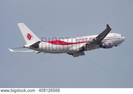Paris, France - April 17, 2015: Air Algerie Airbus A330-200 7t-vjy Passenger Plane Departure And Tak