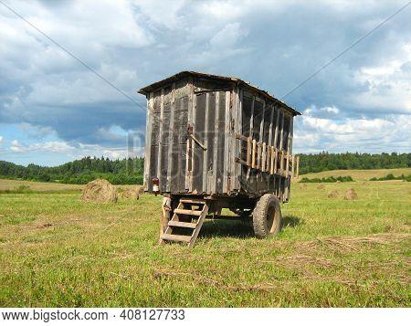 Booth On Wheels In A Field On Hayfield
