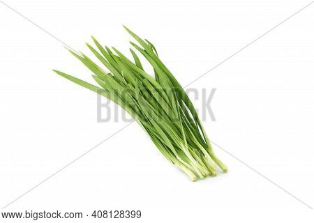 Chinese Chives. Garlic Chives On White Background