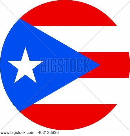 Puerto Rico Round Flag Icon. Perfect For Badge, Button, Sign, Symbol, Icon, Label And Sticker.