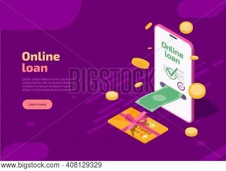 Online Loan Banner. Vector Landing Page Of Banking Credit Online Service With Isometric Smartphone,