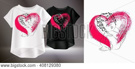 Artistic Print For A T-shirt. Vector Illustration Of Women's T-shirts. Isolated Image Of Women's Clo