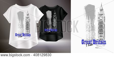Artistic Print For A T-shirt. Vector Illustration Of White And Black Womens T-shirts. Isolated Image