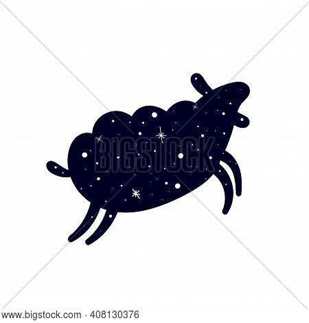 Dark Silhouette Of A Sheep. Sheep In A Pattern Of Shining Stars. Flat Vector Illustration Isolated O
