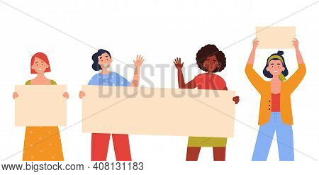 Teenagers Showing Posters. Collection Of Young Women Standing And Holding Blank Banner. Female Prote