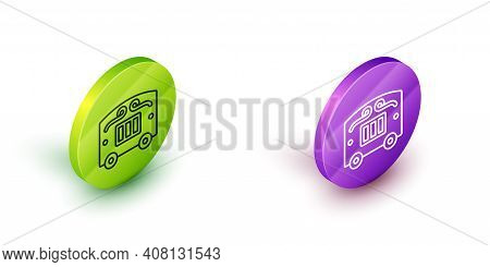 Isometric Line Circus Wagon Icon Isolated On White Background. Circus Trailer, Wagon Wheel. Green An