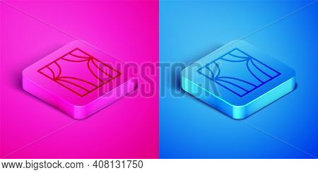 Isometric Line Circus Curtain Raises Icon Isolated On Pink And Blue Background. For Theater Or Opera