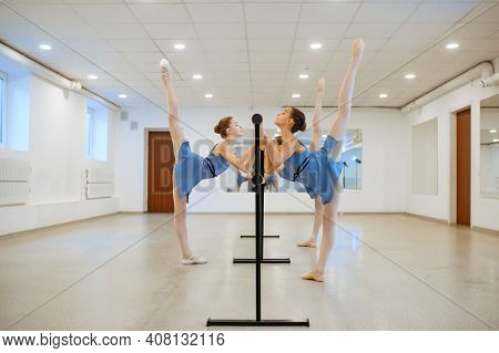 Two young ballerinas rehearsing at barre in class