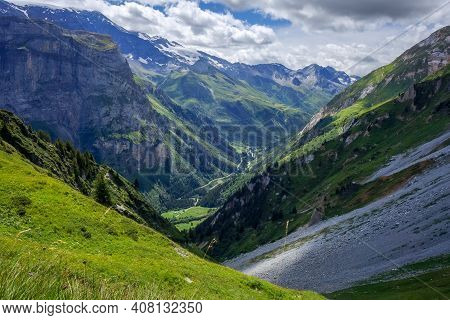 Mountain And Pastures Landscape In Pralognan La Vanoise. French Alps