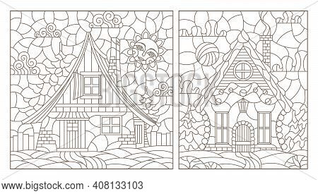 Set Of Contour Illustrations In Stained Glass Style With Cozy Rural Houses On A Background Of Fir Tr