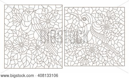 Set Of Contour Illustrations In Stained Glass Style With Cute Birds And Flowers, Dark Outlines On A