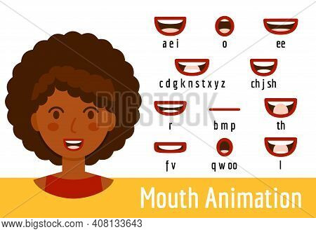 Mouth Lip Sync Set For Animation Of Sound Pronunciation