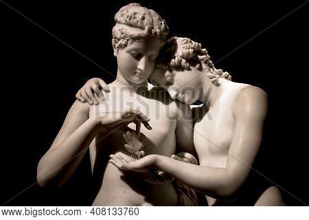 Milan, Italy - June 2020. Antonio Canova's Masterpiece Cupid And Psyche (amore E Psiche, 1797), Symb