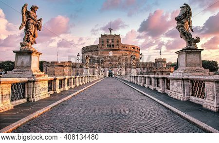 Rome, Italy - Circa August 2020: Castel Sant'angelo (saint Angel Castle) In Rome (roma), Italy. Hist