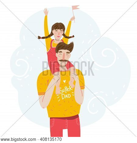 Father With Daughter. Little Daughter On A Piggy Back Ride With Her Dad. Good For Family Themes Or F