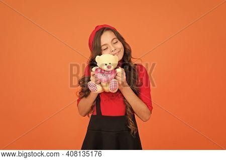Love Forever. Happy Girl Cuddle Teddy Bear. Love You Inscription. Little Child Got Valentines Gift.