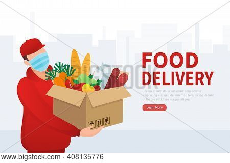 Flat Banner With Delivery Service. Delivery Service. Food Delivery Service. Vector Illustration.