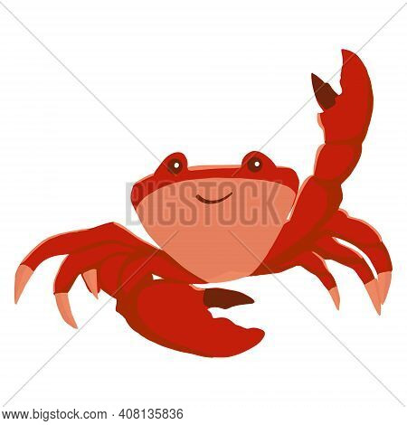 Colorful Red Crab Vector Illustration. A Sea Creature In A Flat Design. The Crab Shell Icon Is Isola