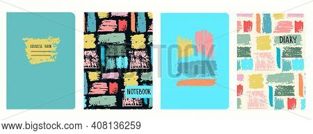 Set Of Cover Page Vector Templates With Multicolored Paint Stripes, Brushstroke Effect. Based On Sea