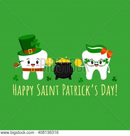 St Patrick Day Tooth In Leprechaun Costume, Cauldron And In Clover Glasses With Coin. Dental Teeth I