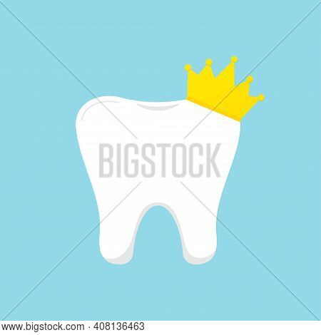 Tooth Molar With Goldy Royal Crown Icon. Flat Design Cartoon Style Vector Illustration. White Tooth