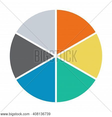 Infographic Pie Chart. Cycle Presentation Diagram 6 Section. Vector Isolated On White Background .