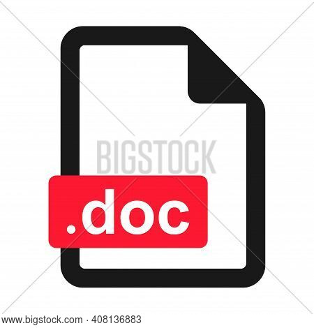 File Doc Flat Icon Isolated On White Background. Doc Format Vector Illustration .