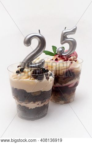 Birthday Trifle Cake With Candle Labeled Number 25 On White Background. Portioned Mini Cake