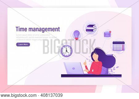 Flat Time Management For Report Design. Isometric Vector Illustration. Time Management. Flat Vector