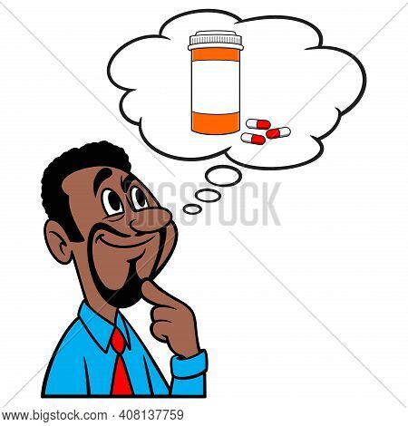 Man Thinking About Prescription Drugs - A Cartoon Illustration Of A Man Thinking About Prescription