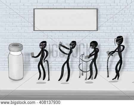 Cartoon Style Drawing Of Elderly People Formed With Distance For Vaccination