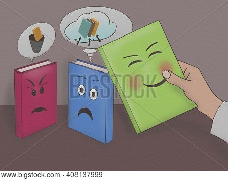 Cartoon Style Drawing Of Book Characters With Emotions When Digitized And Used On Paper