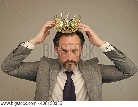 Fancy Himself As King. Bearded Man Wear King Crown. Big Boss. Leader And Leadership. Businessman Or