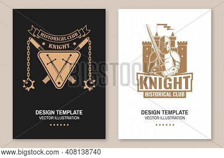 Medieval Knight Historical Club Flyer, Brochure, Banner, Poster. Vector Concept For Shirt, Print, St
