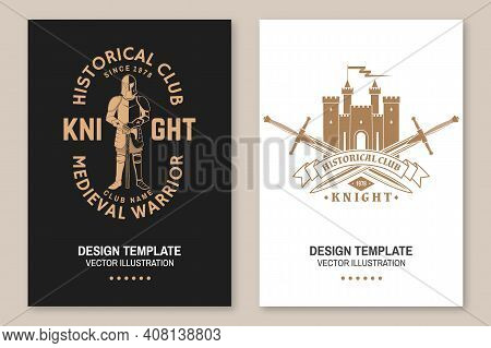 Knight Historical Club Flyer, Brochure, Banner, Poster. Vector . Concept For Shirt, Print, Stamp, Ov