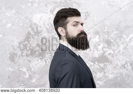 Rugged And Manly. Tailor Or Fashion Designer. Modern Life. Brutal Bearded Hipster In Formal Suit. El