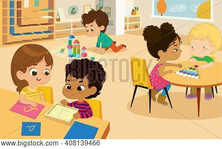 Montessori School Class. Vector Illustrations Of Children In The Playroom, Boys And Girls Involved I