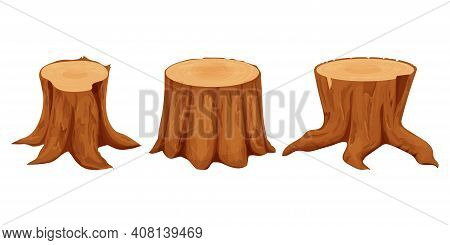 Set Of Tree Stumps Detailed, Textured In Cartoon Style Isolated On White Background Stock Vector Ill