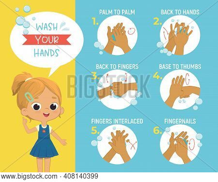 How To Wash Your Hands 6 Step Poster Infographic Illustration. Poster With The Cute Girl Shows How T