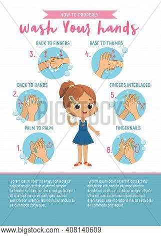 How To Wash Your Hands Six Step Poster Infographic Illustration For Children. Poster With The Cute G