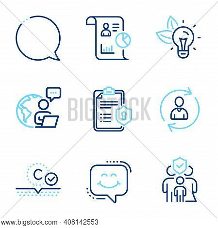Business Icons Set. Included Icon As Privacy Policy, Collagen Skin, Eco Energy Signs. Speech Bubble,