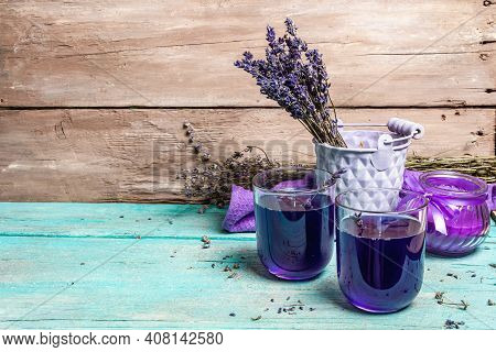 Lavender Tonic Drink On Wooden Table