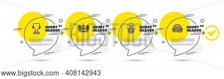 Laureate Award, Winner Reward And Award Cup Line Icons Set. Timeline Infograph Speech Bubbles. Sport