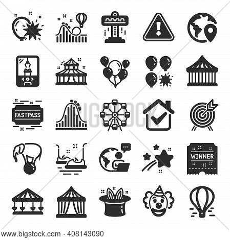 Amusement Park Icons. Set Of Carousel, Roller Coaster And Circus Icons. Air Balloon, Crane Claw Mach