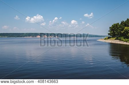 Lake Landscape With Clouds, Wooded Shoreline, Relaxing Photo