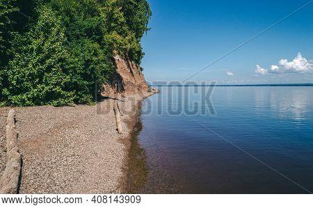 Shoreline Landscape Of Blue Lake, Summer Relaxing View