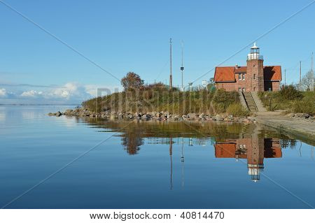 Uostadvarsky old lighthouse on the island in Lithuania