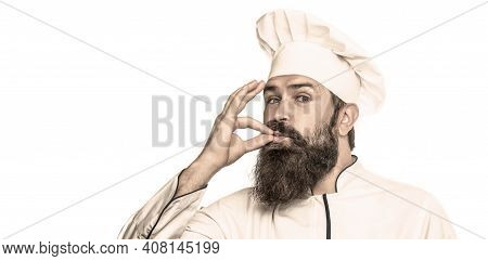 Chef, Cook Making Tasty Delicious Gesture By Kissing Fingers. Cook Hat. Bearded Chef, Cooks Or Baker