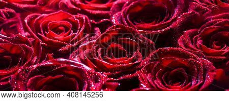 . Bouquet Of Fresh Roses, Flower Bright Background. A Close Up Macro Shot Of A Red Rose. Flower Shop